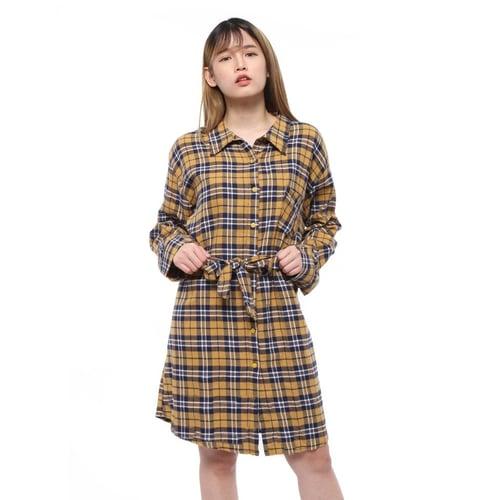 Rimas 03627 Square Mini Dress Wanita - Mustard Size L