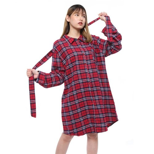 Rimas 03627 Square Mini Dress Wanita - Merah Size XXL