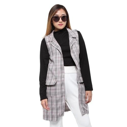 Rimas 0329 Kotak-Kotak Cardigan Vest Wanita - Abu Size L