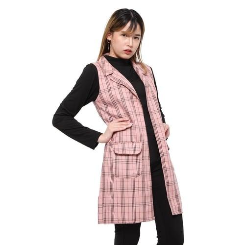 Rimas 0329 Kotak-Kotak Cardigan Vest Wanita - Pink Size L