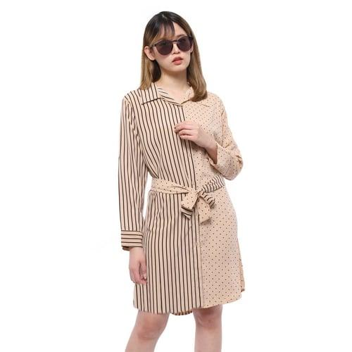 Rimas 03628 Mini Dress Trendy Wanita - Mocca Size XXL
