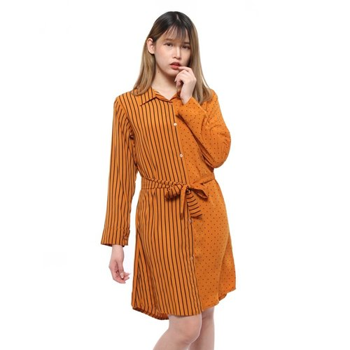 Rimas 03628 Mini Dress Trendy Wanita - Mustard Size XXL