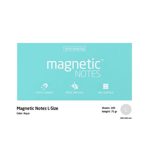 TESLA AMAZING Magnetic Sticky Notes Size L 200 x 100mm - Aqua Nego