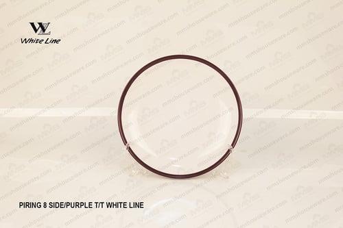 Piring 8 Side Purple T T White Line