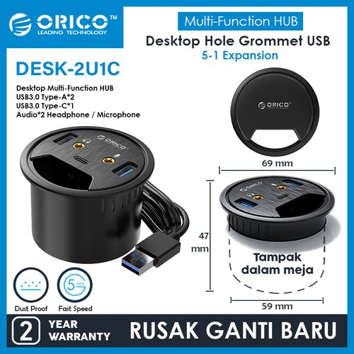 ORICO DESK HOLE USB3.0 HUB + MIC + Audio + USB-C - DESK-2U1C