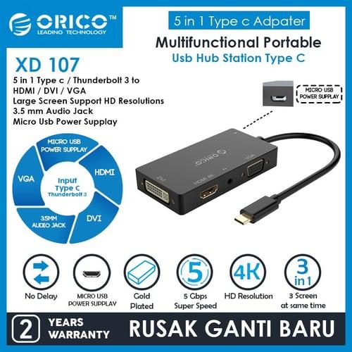 ORICO 4in1 Type-C Hub DVI+HDMI+VGA + 3.5mm Audio Jack - XD-107