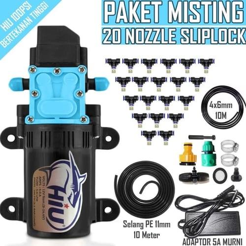 Paket Misting Kabut Embun 20 Titik Pompa Hiu Nozlle Slip Lock