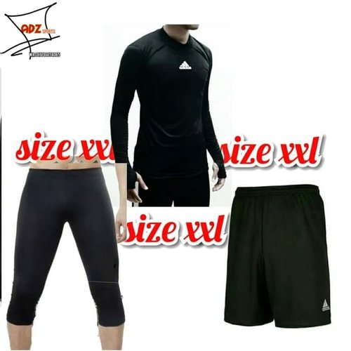 Paket Hemat Stelan Manset Baselayer Olahraga Big Size XXl Hitam 3 4 - Hitam