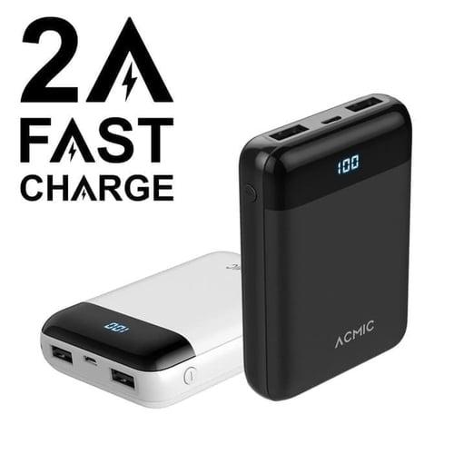 ACMIC D10 10000mAh Mini Power Bank Digital Display + 2A Fast Charge - Hitam