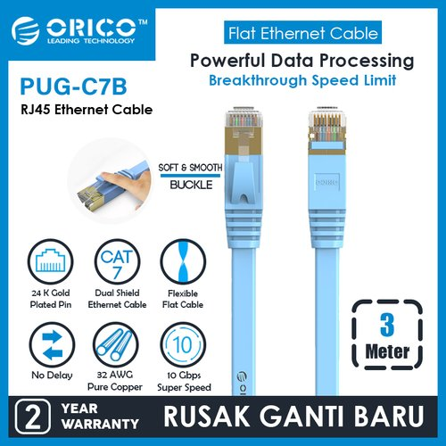 ORICO LAN Flat Cable CAT7 10Gbps Ethernet Network - 3M - PUG-C7B-30