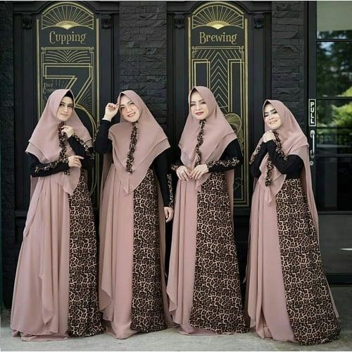 Terlaris Gamis Leopard Jumbo Busui Maxi Dress Syari Muslimah Big Size Model Casual Terkini