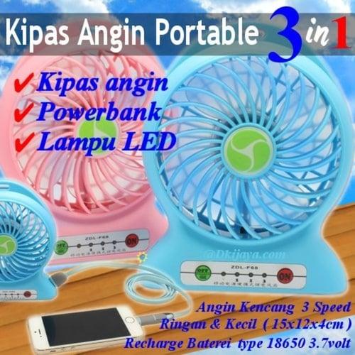 Portable Kipas Angin 3 in 1 Powerbank