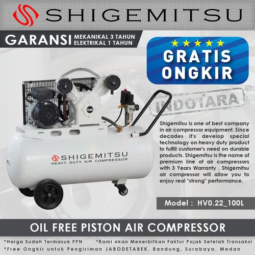 Kompresor Angin Oil Free 3HP/ 8 BAR 100L