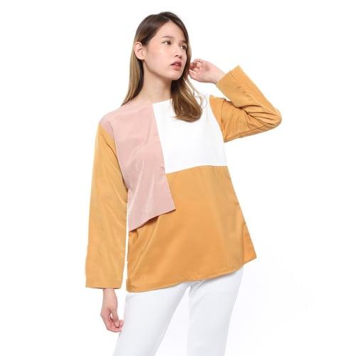 Rimas 9501 Color Combination Modern Blouse Wanita - Mustard Size L