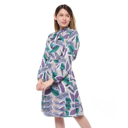 Rimas 9451 Pastel Floral Mini Dress Wanita - Mocca Size L