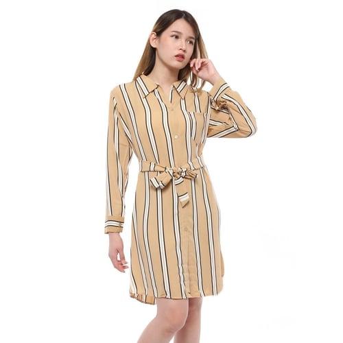 Rimas 03633 Color Combination Mini Dress Wanita - Mocca Size L