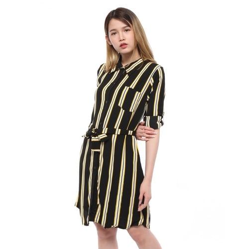 Rimas 03633 Color Combination Mini Dress Wanita - Hitam Size XXL