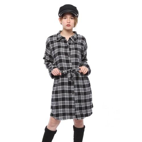 Rimas 03632 Flanel Trendy Mini Dress Wanita - Hitam Size XXL