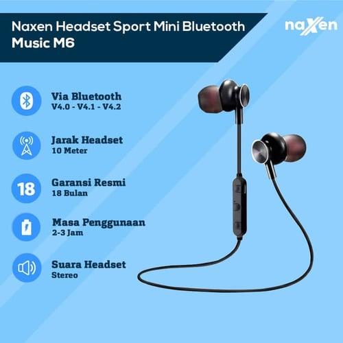 Naxen X6 Headset Bluetooth 4.1 Sport Handsfree Earphone Headphone - Abu -abu Tua
