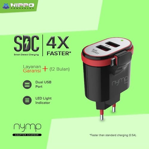 Hippo Nymp 2Ports 4.4A Charger + Kabel Micro Built in (SP) - Black
