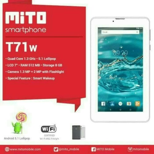 MITO T71W TABLET WIFI/ 7 INCH/RAM 512MB/GARANSI RESMI
