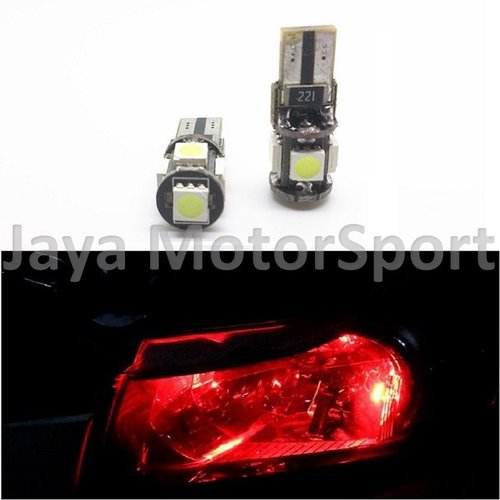 JMS - Lampu LED Mobil / Motor / Senja T10 w5w / Wedge Side Canbus 5 SMD 5050 - Red