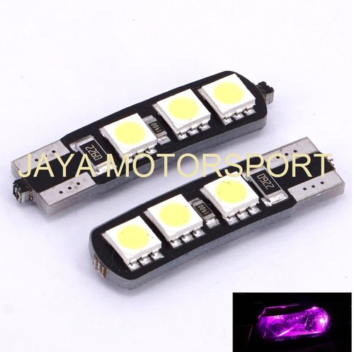 JMS - Lampu LED Mobil / Motor / Senja T10 w5w / Wedge Side Canbus 6 SMD 5050 - Pink