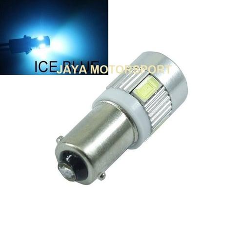 Lampu LED Mobil Motor Bayonet BA9S H6W T4W 6 SMD 5630 Alloy Crystal Blue