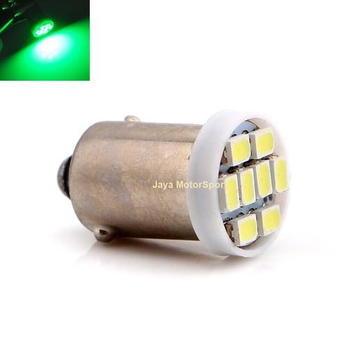 Lampu LED Mobil Motor Bayonet BA9S H6W T4W 8 SMD 1210 Green