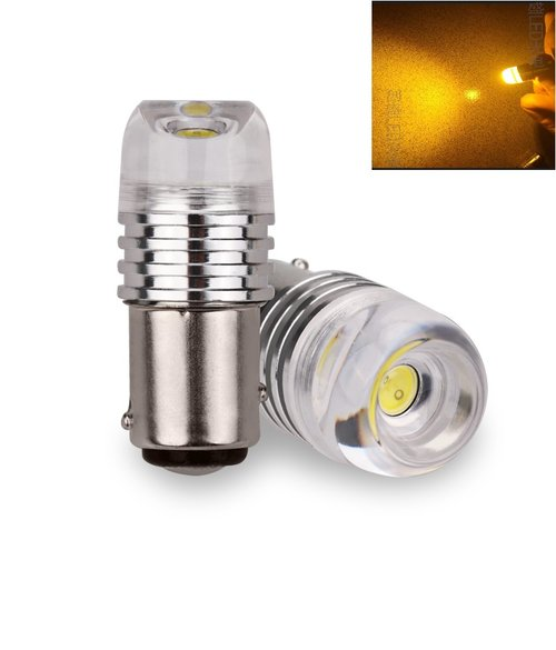 JMS - Lampu LED Mobil Motor Bayonet S25 1156 BA15S 3W COB Concave Flashing (Strobo) - Yellow