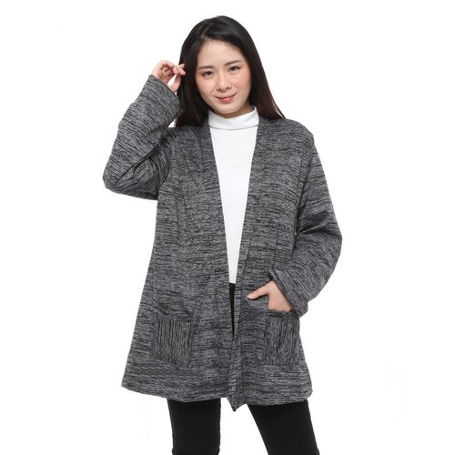 Rimas Gigi Cardigan Polos Kasual Wanita - Hitam Size XL