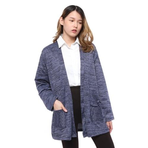 Rimas Gigi Cardigan Polos Kasual Wanita - Navy Size XL