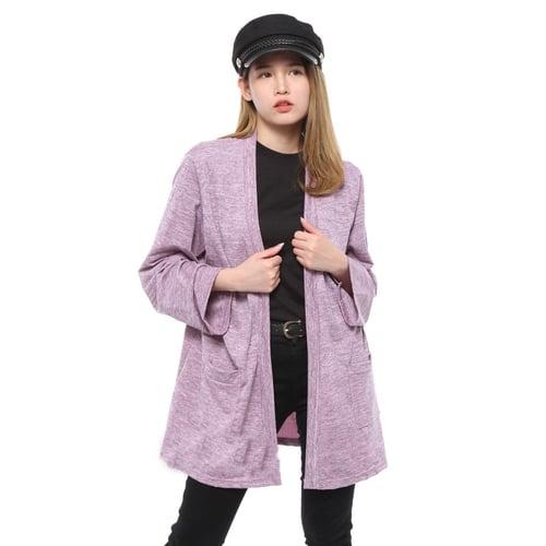 Rimas Gigi Cardigan Polos Kasual Wanita - Pink Size XL