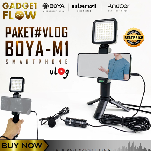 BOYA BY M1 Paket HP Mic Clip On Tripod Video Rig for Smartphone