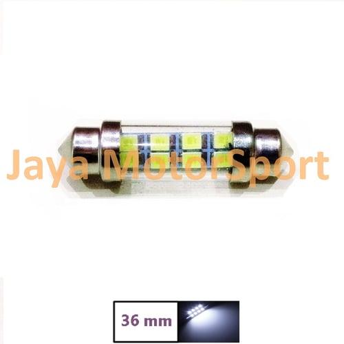 JMS - Lampu LED Mobil Kabin / Plafon / Festoon / Double Wedge Glass lens 8 SMD 1210 36mm - White
