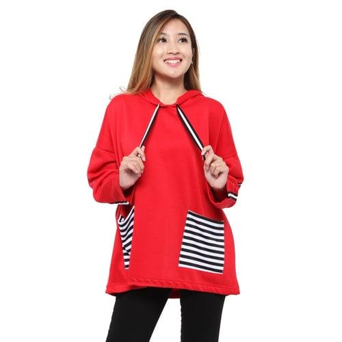 Rimas Velove Sweater Trendy Fashion Wanita - Merah Size XXL