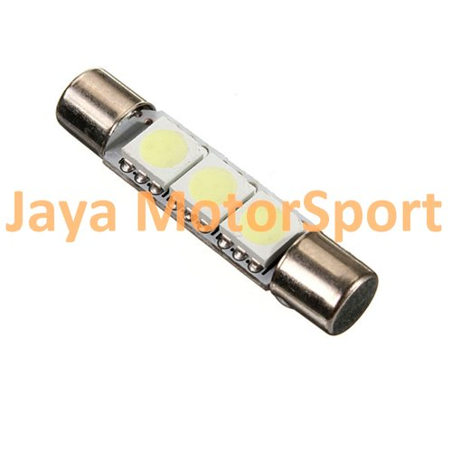 JMS - Lampu LED Mobil Kabin / Plafon / Festoon / Double Wedge 3 SMD 5050 28mm - White