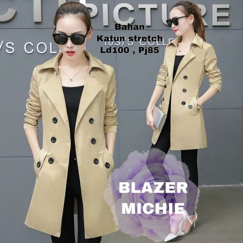 Terlaris Long Blazer Michie Outer Blazer Panjang Model Casual Terkini