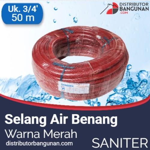 Selang Air Benang Warna Merah 3per4 inch 50 m SANITER