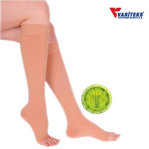 VARITEKS Varicose Stocking Knee High Open Toe Ccl 2 (XXL Biege)