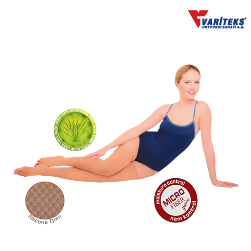 VARITEKS Varicose Stocking Thigh High Open Toe Ccl 2 (XXL Beige )