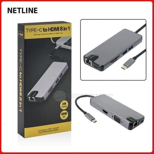 Type C To HDMI 8 in 1 Lan Type-C SD Card USB 3.0 HDMI VGA