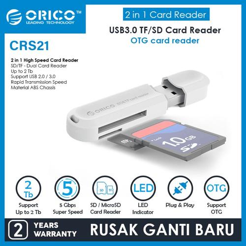 ORICO Card Reader USB3.0 TF / SD - CRS21 - WHITE