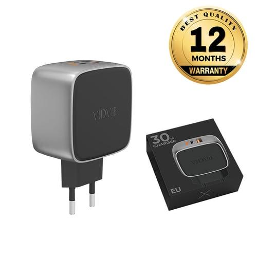 VIDVIE X 1 USB + 1 TC Port Travel Charger XL-PLE205 PD 30W + Power IQ
