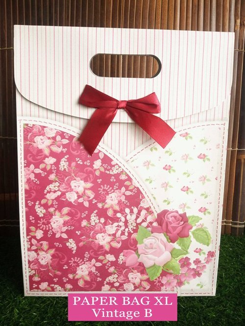 Paper Bag Motif / Tas Kertas Kado / Tas Ulang tahun - XL Casual-Vintage B