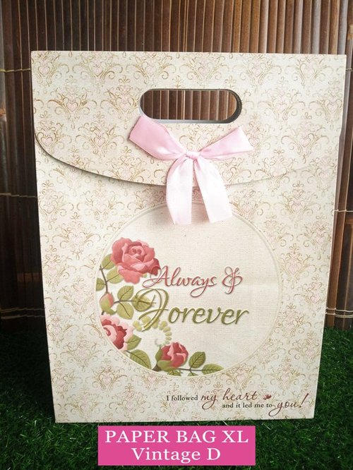 Paper Bag Motif / Tas Kertas Kado / Tas Ulang tahun - XL Casual - Vintage D