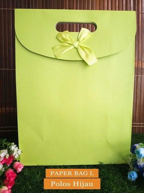 Paper Bag Motif / Tas Kertas Kado / Tas Ulang tahun - L Polos Series-Hijau