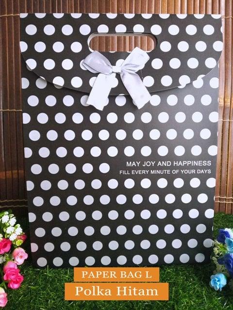 Paper Bag Motif / Tas Kertas Kado / Tas Ulang tahun - L Simple 2-Polka hitam