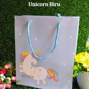 Paper Bag Tali Motif / Tas Kertas Kado / Tas Ulang tahun - M DREAM -Unicorn Biru