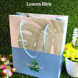 Paper Bag Tali Motif / Tas Kertas Kado / Tas Ulang tahun - M LEAVES-Biru